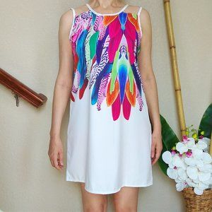 4/$15⚡ Vintage Colorful Feather Satin Summer Dress